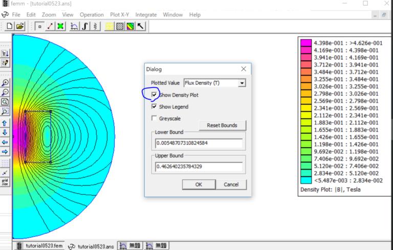 無料磁場解析ソフトFEMMチュートリアルをやる